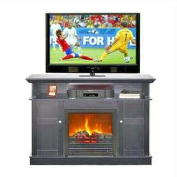 New Modern Black Wood 43-inch TV Stand with Electric Firepla