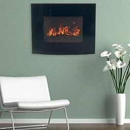Home Northwest Black Curved Glass Electric Fireplace Wall Mo