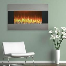 Northwest 36 In. Stainless Electric Wall Mount Fireplace wit