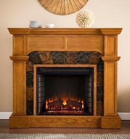 "45"" Oak Electric Corner or Flat Fireplace Mantle Fireplaces"