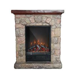 PolyStone Cottage Electric Fireplace Heater Mantel with Remo