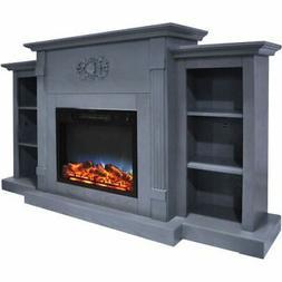 "Sanoma 72"" Electric Mantel Fireplace w/Multi-Color LED Flame"