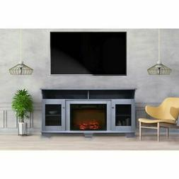 """Savona 59"""" Electric Fireplace with Stand and Charred Log Dis"""