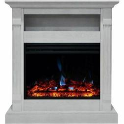 "Cambridge Sienna 34"" Electric Fireplace Heater with White Ma"