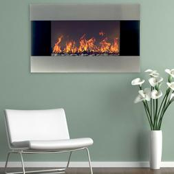 Northwest Stainless Steel 36 In Electric Wall Mounted Firepl