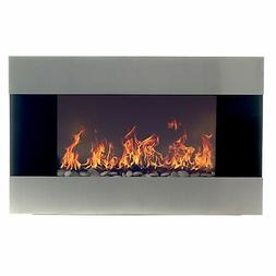 Stainless Steel Electric Fireplace With Wall Mount, Floor St