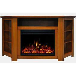 "Stratford Electric Fireplace Heater with 56"" Teak Corner TV"