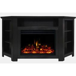 """Stratford Electric Fireplace Heater with 56"""" Black Corner TV"""