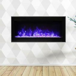 """Amantii Symmetry 34"""" Built-In Electric Fireplace Black Steel"""