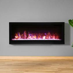 "Amantii Symmetry 42"" Built-In Electric Fireplace Black Steel"