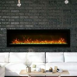 """Amantii Symmetry 60"""" Built-In Electric Fireplace Black Steel"""