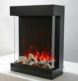 """Amantii True-View 3-Sided Electric Fireplace, 25"""" Multi Colo"""