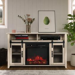 TV Stand with Electric Fireplace Included,Media Storage Tele