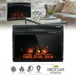 Wall Insert 1400W Electric Fireplace Heat w/Remote LED Flame