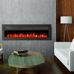 "GMHome 40"" Wall Recessed Electric Fireplace 9 Changeable Col"