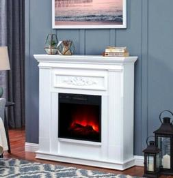 """38"""" WHITE Electric Heating Fireplace Mantle Fireplaces Heate"""