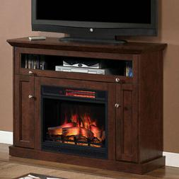 Windsor Infrared Electric Fireplace Media Cabinet in Antique