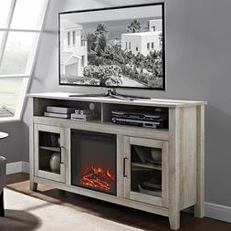 """WE Furniture 58"""" Wood Highboy Fireplace Media TV Stand Conso"""